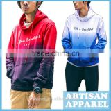 Graduated Color Men's French Terry Hoodie Pullover Casual Dip-dye Cotton Hoodie For Man With Good Quality