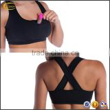 Ecoach 2016 new arrival women custom logo blank running sports bra with Hidden Pocket for Pepper Spray Safety