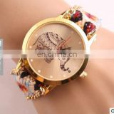 2017 New Godbead Elephant Woven Fabric Gold Chain Quartz Watch Women Casual Relogio Feminino Watches Ladies Wristwatch Pink