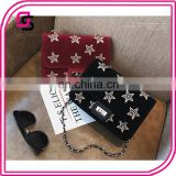 Star embroidery small square daypack bag fashion printed suede ladies bags