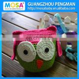 Toddler Girl Shower Gift Crochet Animal Stuffed Toy OWL Knit Doll Green Hot Pink With Ears