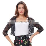 Kate Kasin Women's Three Quarter Sleeve Cropped Short Open Black Lace Bolero Shrug Shawl KK000430-1