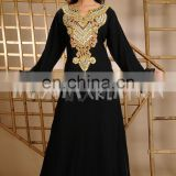 Georgette Beaded Chiffon Long Sleeve Islamic Evening Dress Abaya