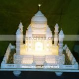 White Marble Taj Mahal Replicas, Marble Taj Mahal With Lighting