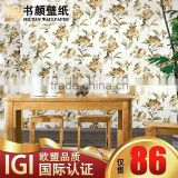 European-style garden wall covering natural colored cotton sofa TV background wall covering paved beige bedroom den -3d wall pap