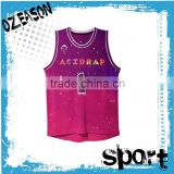 Fashionable custom sublimated pink kids basketball jersey basketball top