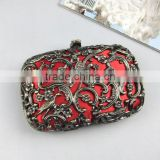 NEW Chinese Style Antique Brass Decorative Pattern Metal Evening Clutch Bag With Chain