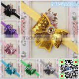 Latest Fashion Ribbon Sequin bows Girl Ribbon Bows Grosgrain Ribbon Girls Glitter Hair Bows MY-BA0014