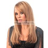 Hot kinky Straight Remy Clip on European Weave 5Pc Clip In Hair Extensions with Bangs for White Women