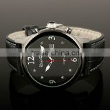 Gents Generous Black Dial Leather Strap Quartz Wrist Watch WM296
