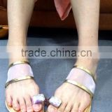 Transparent Design Toe Ring Diamond Flat Sandals, Ladies Easy-to-go Casual Shoes Women Slippers