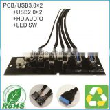 Front Panel Dual USB3.0+Dual USB2.0 HD AUDIO+LED SW I/O PC Board For Computer With Cable
