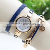 Chinese Wholesale Crystal Leather Strap Quartz Women Wrist Watch Stainless Steel Case Back Rhinestone Ladies Fancy Watches