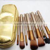 Golden luxury style 12pcs/set private label makeup brush set