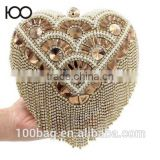 2016 New Heart Shaped Rhinestone Day Clutch beaded evening bags women tassel diamond handbag wedding bridal Purses                                                                         Quality Choice