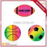 "phthalate free PVC inflatable 6"" rainbow basketball football groundball rugby toy sports balls"
