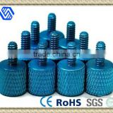 Blue Anodized Aluminum Thumb Screw Knurled for PC Thumb Screw