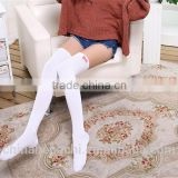 thick japanese knee high socks,pink white black gray bow cute teen young school girls socks