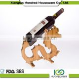 High quality cheap custom animal shape bamboo wine rack ,hanging wine glass rack for decoration
