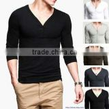 180gsm high quality skin tight men's deep long sleeve v neck t shirt for witner fashion