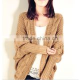 European stylish candy color romantic style batwing sleeve open front women crochet patterns knit sweater                                                                         Quality Choice