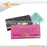 2014 designer pu leather wallet with crown and hollowing design