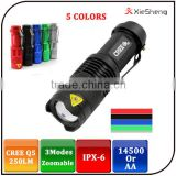 Warranty 1 Year SK68 3 Mode Cree q5 Led Rechargeable 14500 Battery 1 AA Zoom Flashlight Convex Lens Mini Led Flashlight Torch                                                                         Quality Choice