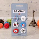 Garment accessories blank and custom design front 4 hole plastic button badge with metal pin for dress