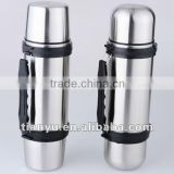2012 new type vacuum insulated stainless steel travel bottle 1000ml with 2 built-in cups