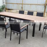 plastic wood table extendable outdoor table / wooden garden table