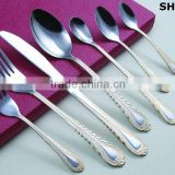 Stainless steel gold plated flatware set