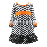 2016 children's fancy dress polka dot ruffle princess dress hot sale 100% cotton fall baby girls halloween dress