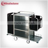 Double black bag stainless steel housekeeping cleaning trolley assembled dressing trolley