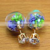 Hot Sale Double-faced Pearls Colorful Tiny Star Flower Glass Ball Crystal Ear Piercing Earring For Women