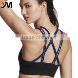 OEM service sexy sport wear Lady's Functional Printing Strappy Cross Back Sports Bra