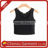 round neck designs hot sale fashionable cotton spandex sexy ladies tank tops 2016 custom logo plain vests women pink tank top