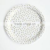 "PartySupplier wholesale YiWu Disposable Gold Foil Gold Star Paper Plates 9"" (23cm) diameter pack of 12 only 50packs"