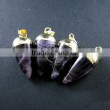 15x30mm water drop shape gold plated purple amethyst power stone pendant charm DIY supplies 1850207