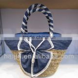 natural seagrass handmade bag with decoration