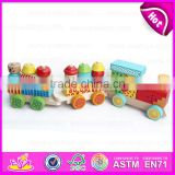 Wooden Block Toy Train Set for kids,Wonderful and safe wooden big block Train toy Toddler Toy W05C023