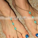 Lastest turquoise anklet with toe rings custom handmade turquoise foot chian three beads turquoise anklet for beach ladies