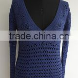 Fashion ladies long sleeve bead V-neck hand crochet cardigan sweaters
