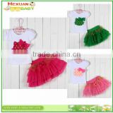 S80005T, baby's girls kids children's suits,Girls clothing sets Lovely Big flower T-shirt + tutu skirt 3D bow skirt