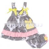 New fashion gray pink deer dress and diaper cover wholesale children's boutique clothing baby girl summer outfits