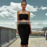 Women's sexy strapless two pieces bodycon midi bandage dresses christmas eve dresses