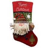 43CM Large 3D Merry Christmas Embroidery Home Decoration Christmas Stockings - Santa Claus