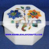 Octagonal Marble Inlay Jewellery Boxes
