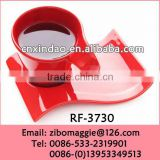 Red Colored Wave Shape Hot Sale Beautiful Personalized Porcelain Modern Water Cup and Saucer