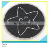 Heat Transfer Diamond Rhinestone Applique Hotfix Round Horse Hair Star Rhinestone Patch 12.5x12.5cm