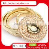 women's rhinestone jewelry gold charm watch belt shape waist chain with gemstone